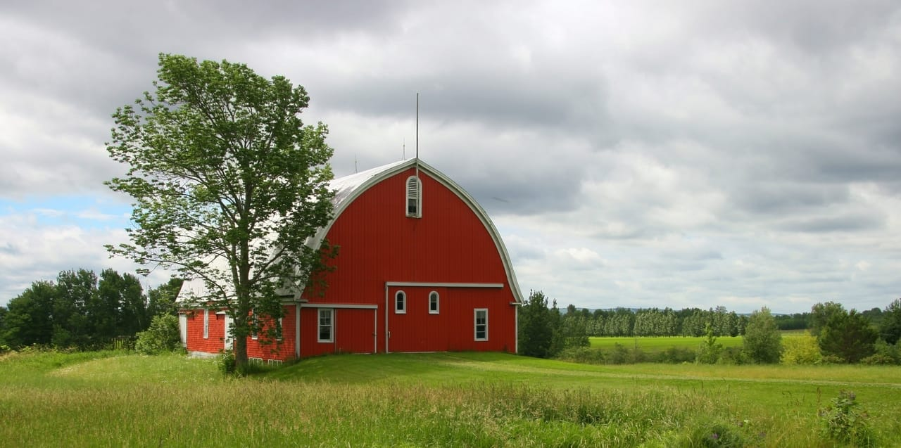 red farm building in a green field